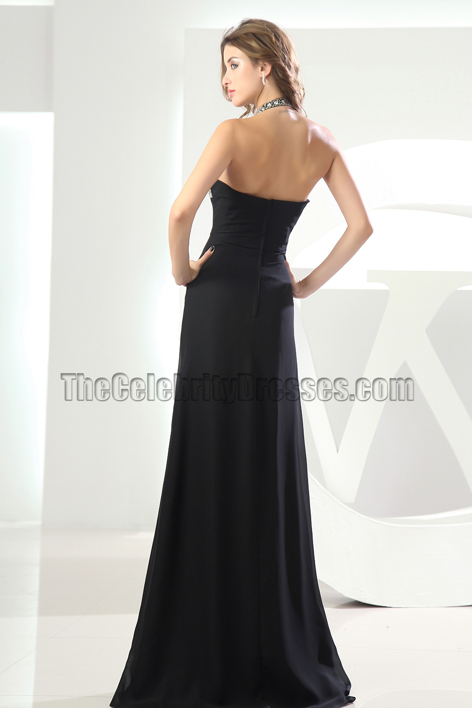 Sexy Halter Black Beaded Prom Dress Evening Formal Dresses - TheCelebrityDresses