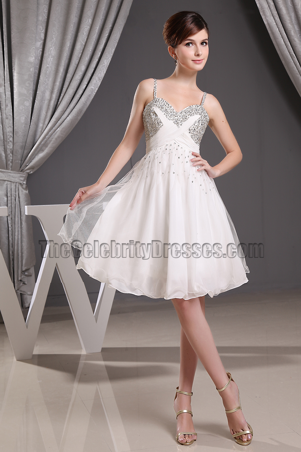 Beaded Short White Chiffon Party Dress Cocktail Homecoming Dresses - TheCelebrityDresses