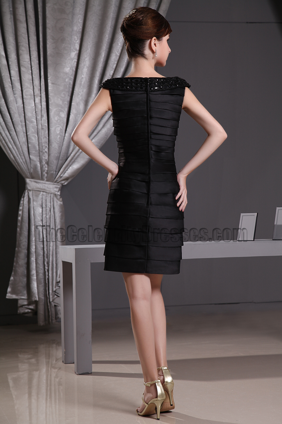 Little Black Dress Short Cocktail Party Dresses With Beading - TheCelebrityDresses