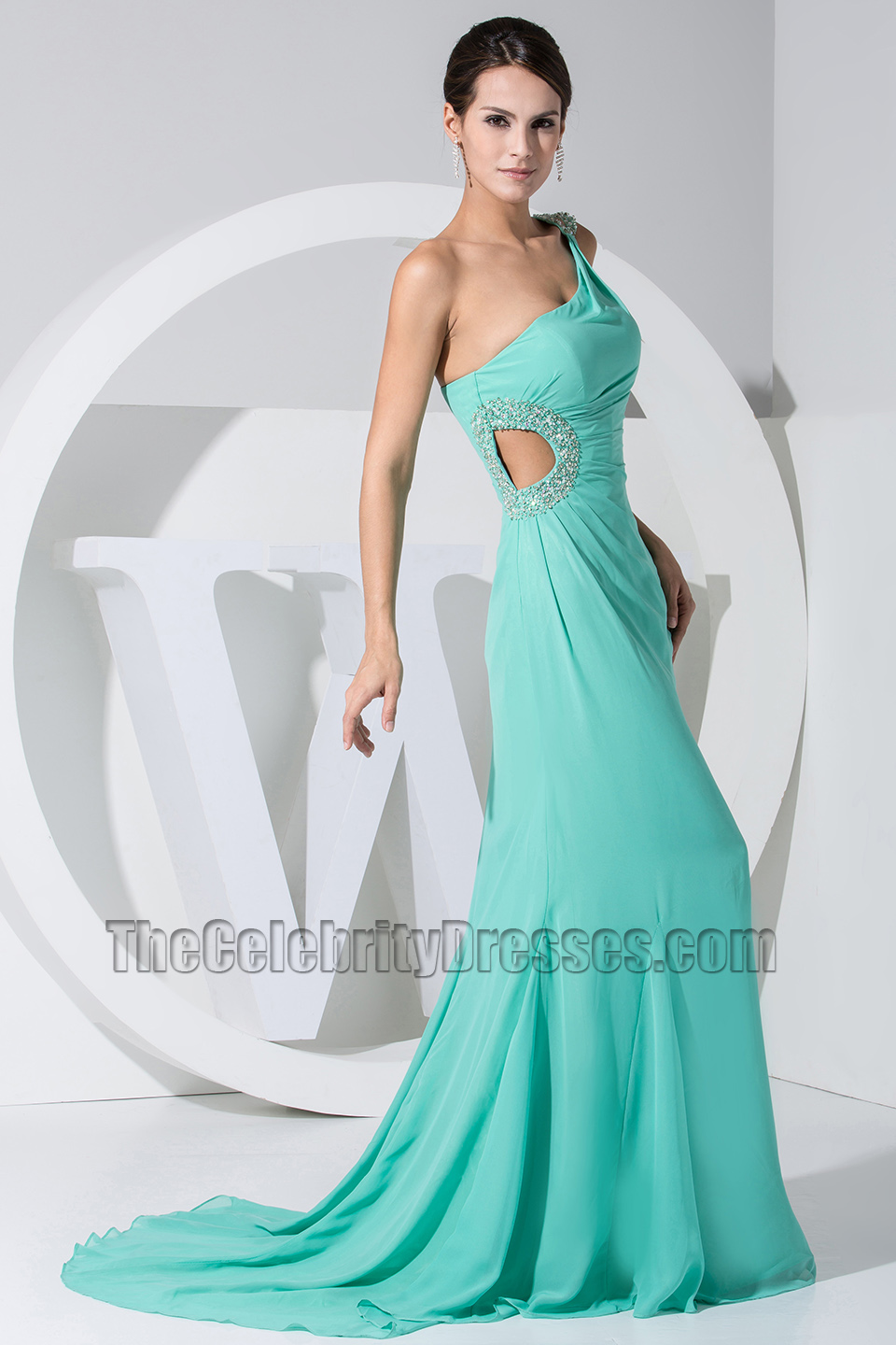 Mint One Shoulder Cut Out Prom Dress Evening Dresses ...