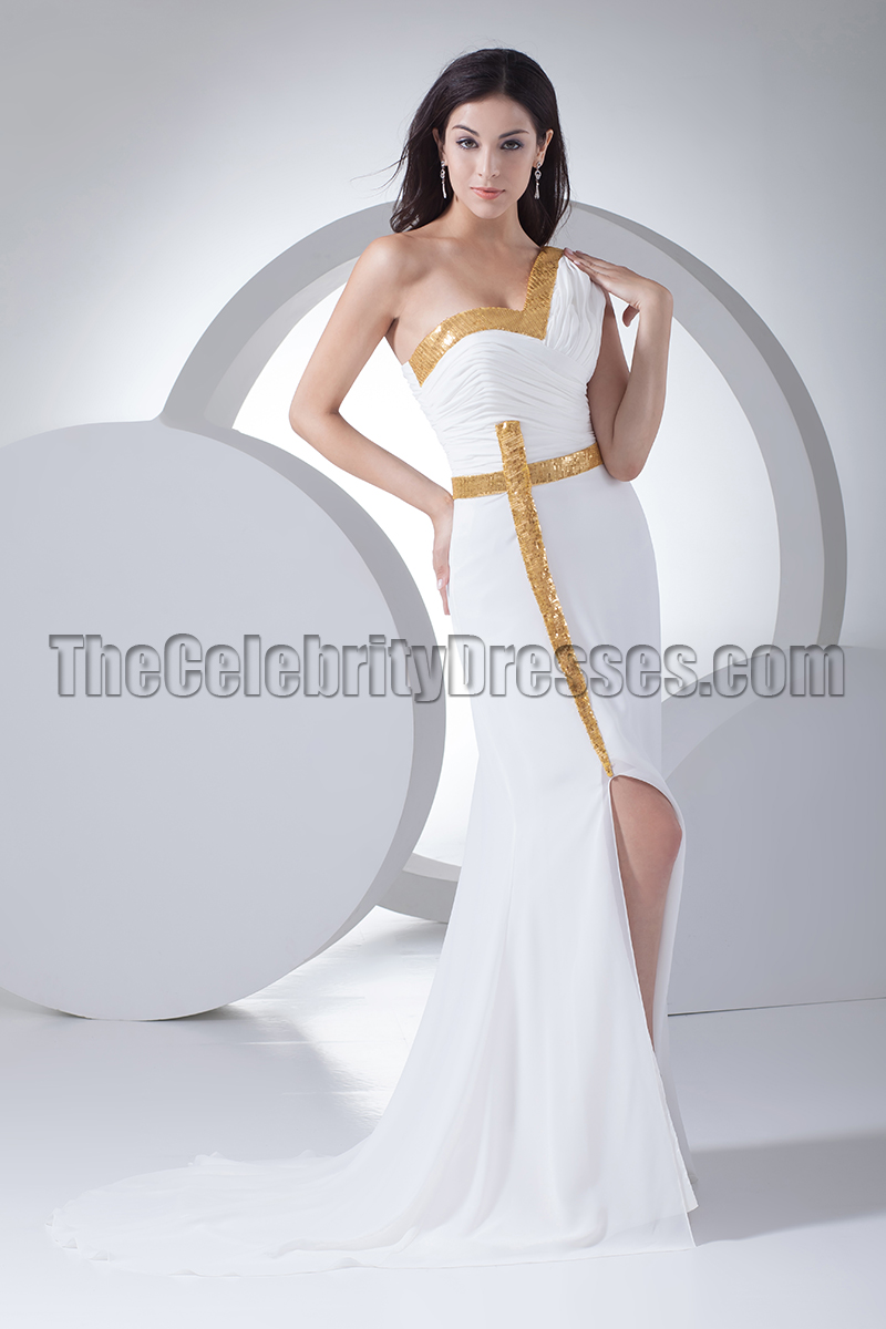 New Style White One Shoulder Evening Dress Formal Gown ...