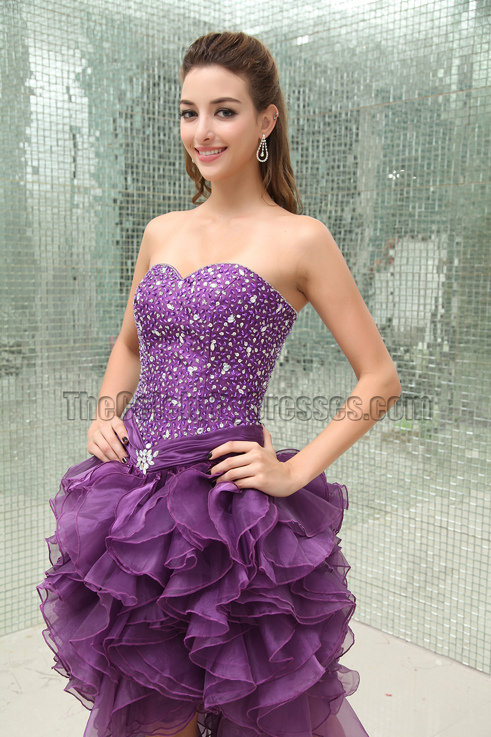 Purple Beaded High Low Strapless Prom Gown Evening Dresses ...