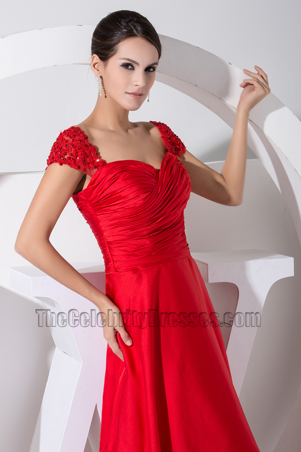 New Style Red Cap Sleeve Prom Dress Evening Formal Dresses ...