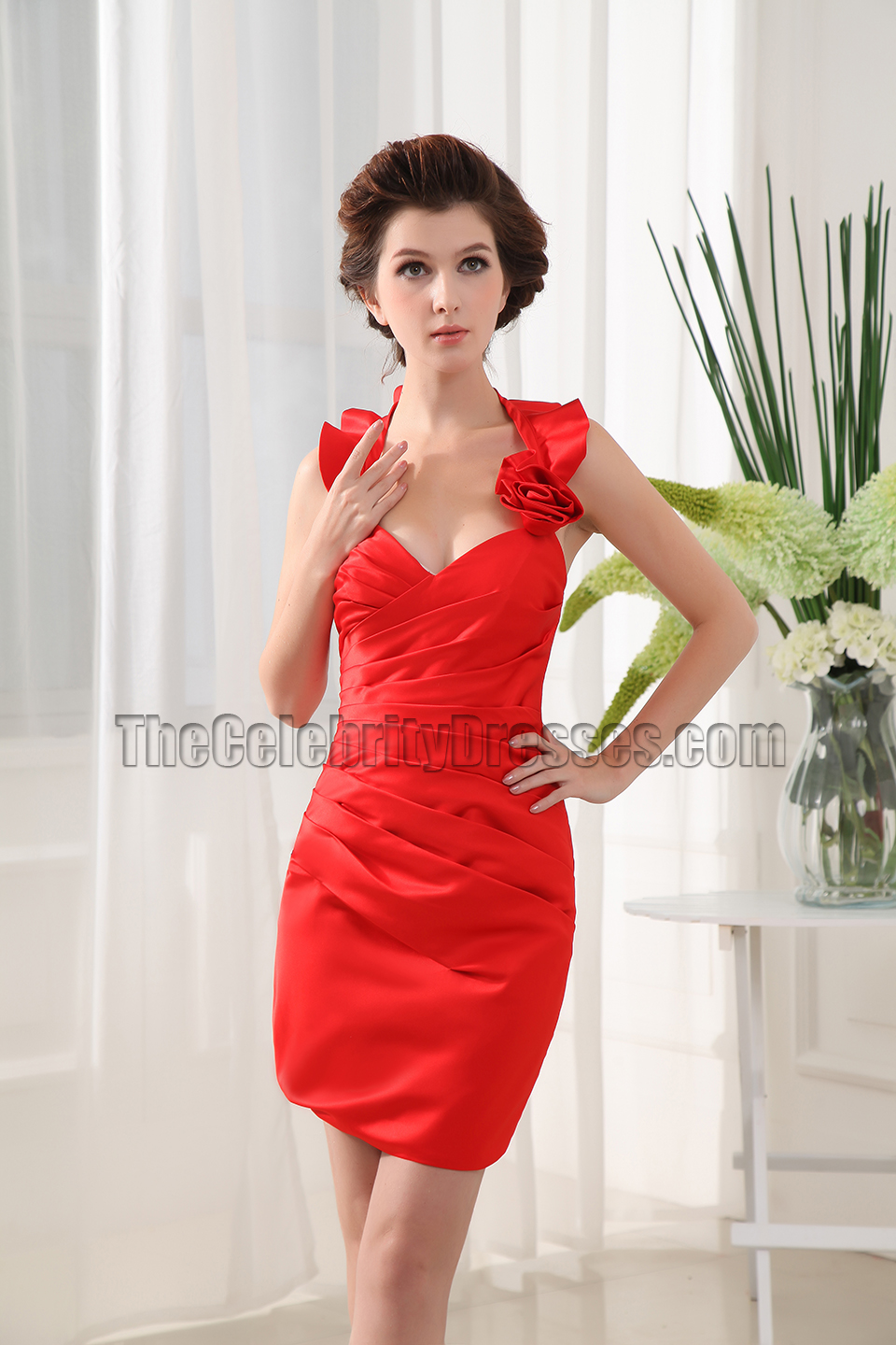 New Style Red Halter Party Homecoming Cocktail Dresses ...