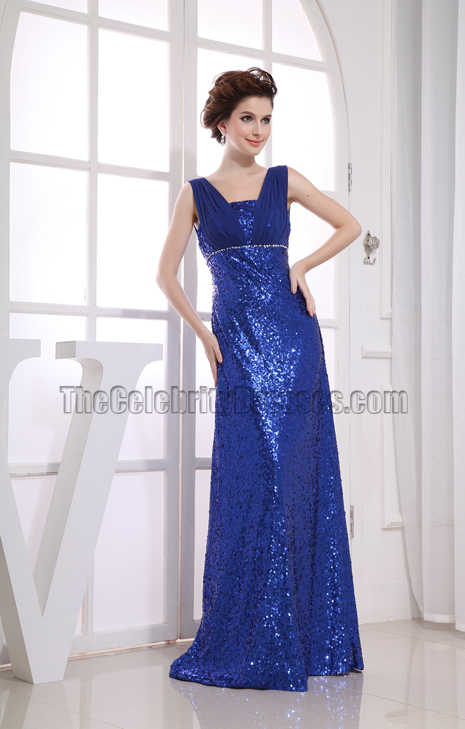 Royal Blue Sequined Evening Gowns Formal Prom Dresses ...