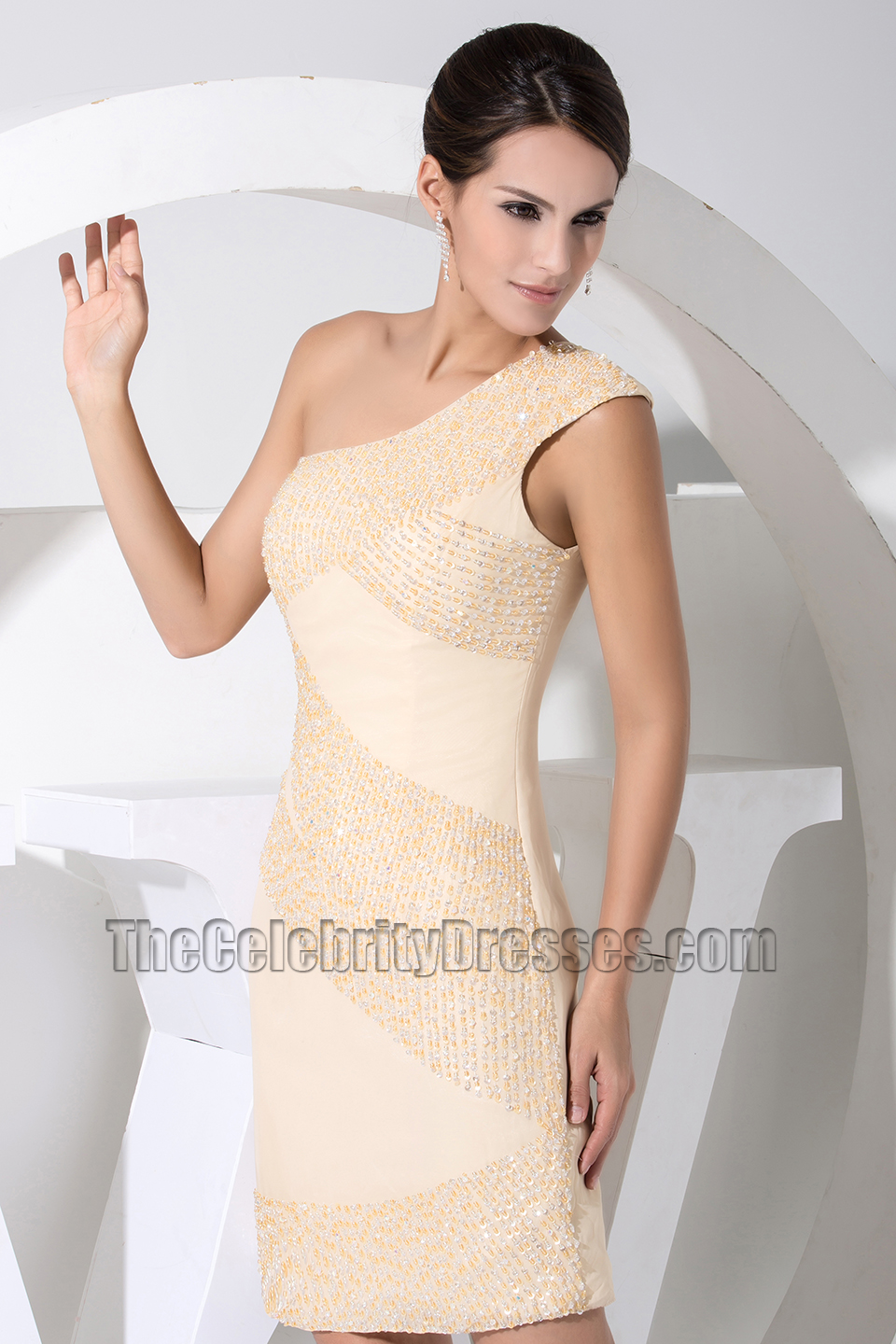 New Style Short One Shoulder Party Dress Cocktail Dresses ...