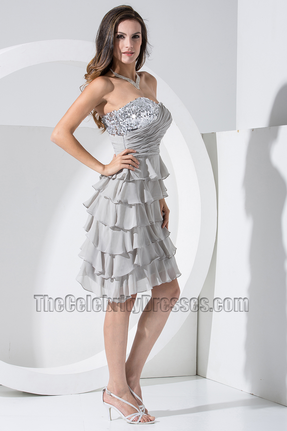 New style silver chiffon strapless cocktail dress party dresses new style silver chiffon strapless cocktail dress party dresses thecelebritydresses ombrellifo Choice Image