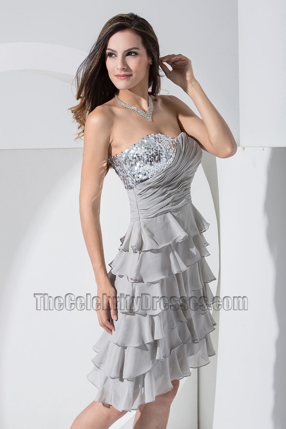 New style silver chiffon strapless cocktail dress party dresses new style silver chiffon strapless cocktail dress party dresses thecelebritydresses ombrellifo Image collections
