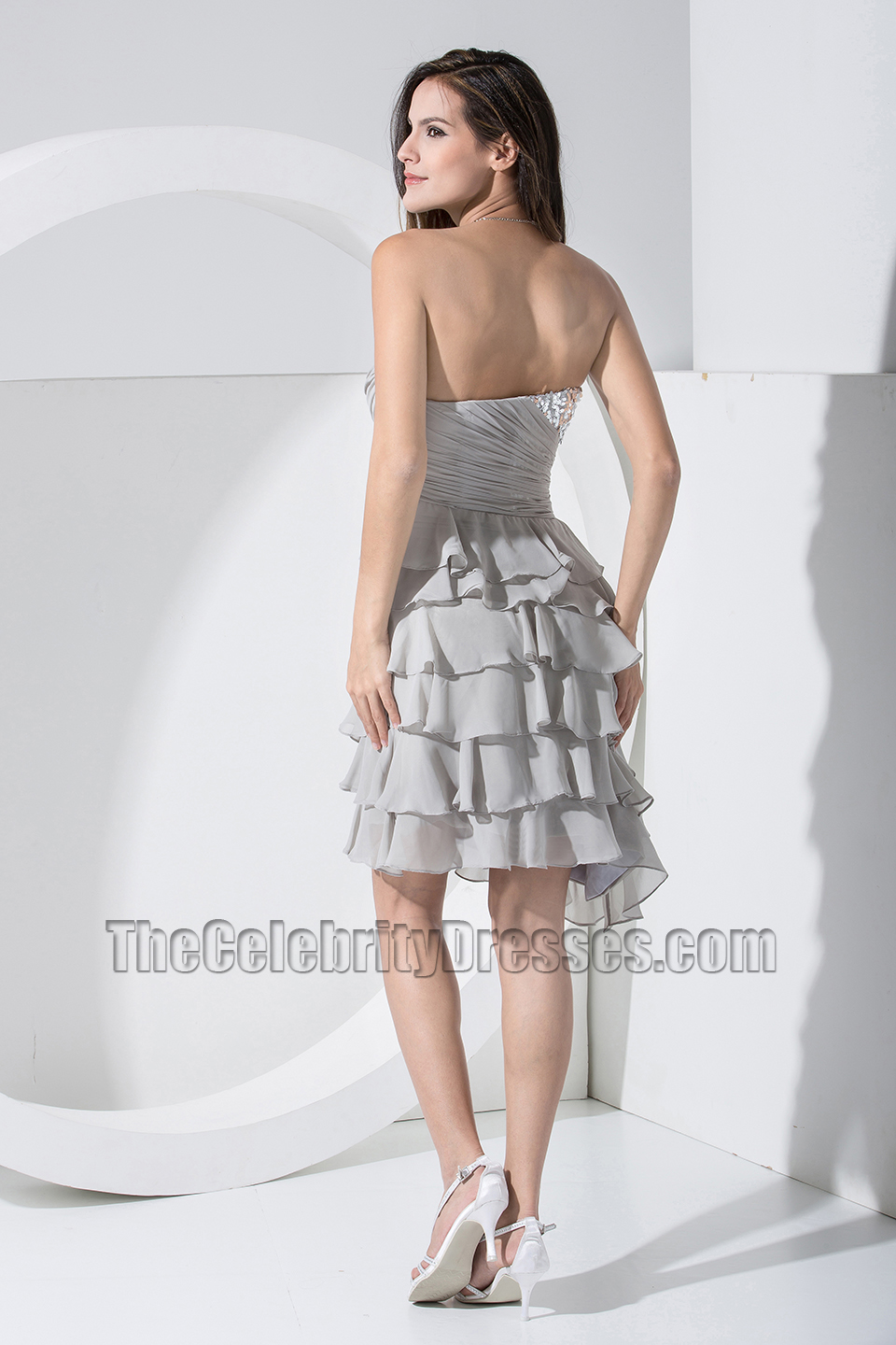 New Style Silver Chiffon Strapless Cocktail Dress Party Dresses ...