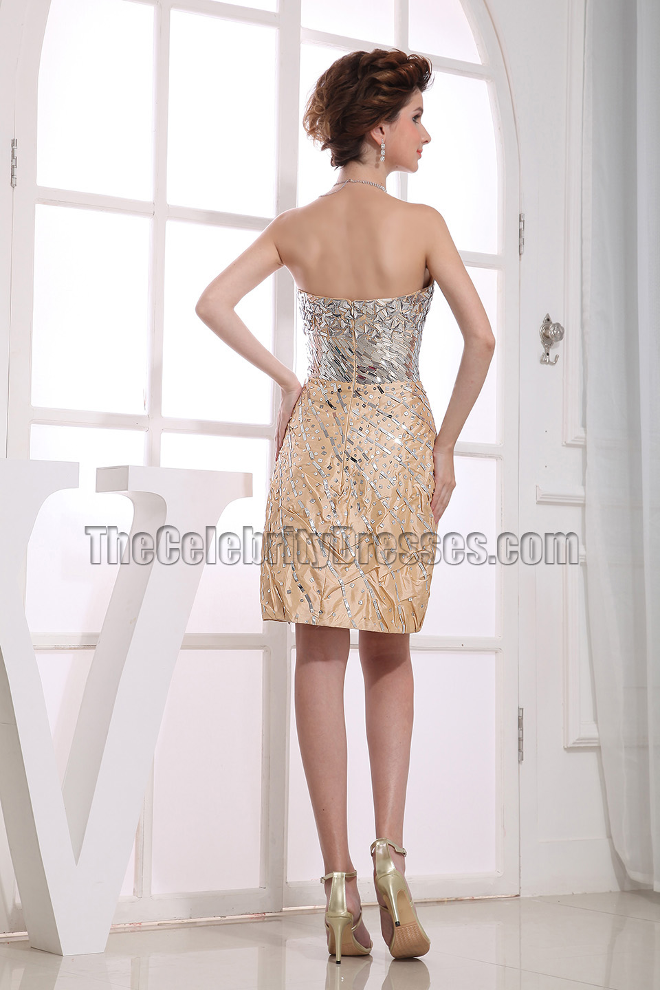 New Style Strapless Beaded Cocktail Dress Party Dresses ...