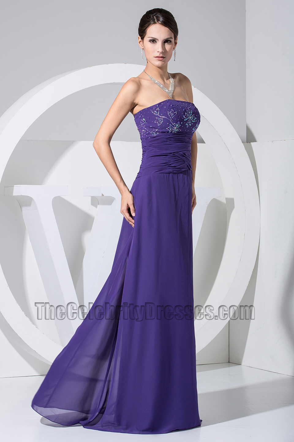 New Style Strapless A-Line Beaded Prom Dress Evening Gown ...