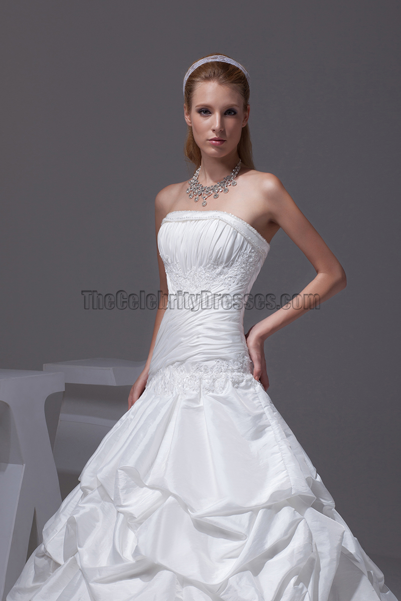 New style strapless taffeta ball gown wedding dresses for Strapless taffeta wedding dress