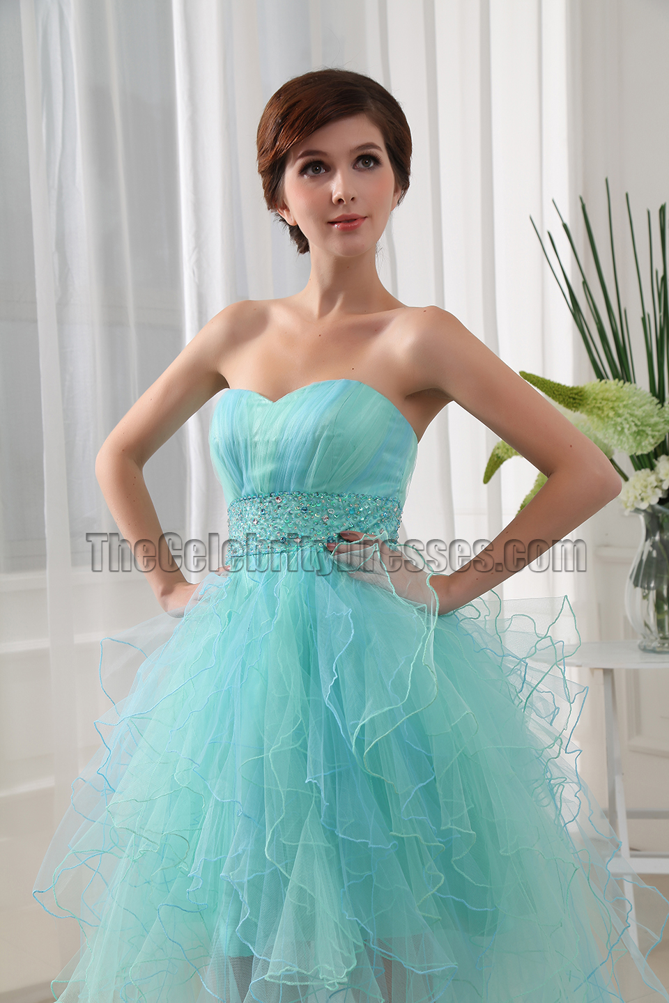 Mint Tulle High Low Strapless Prom Dress Party Dresses ...