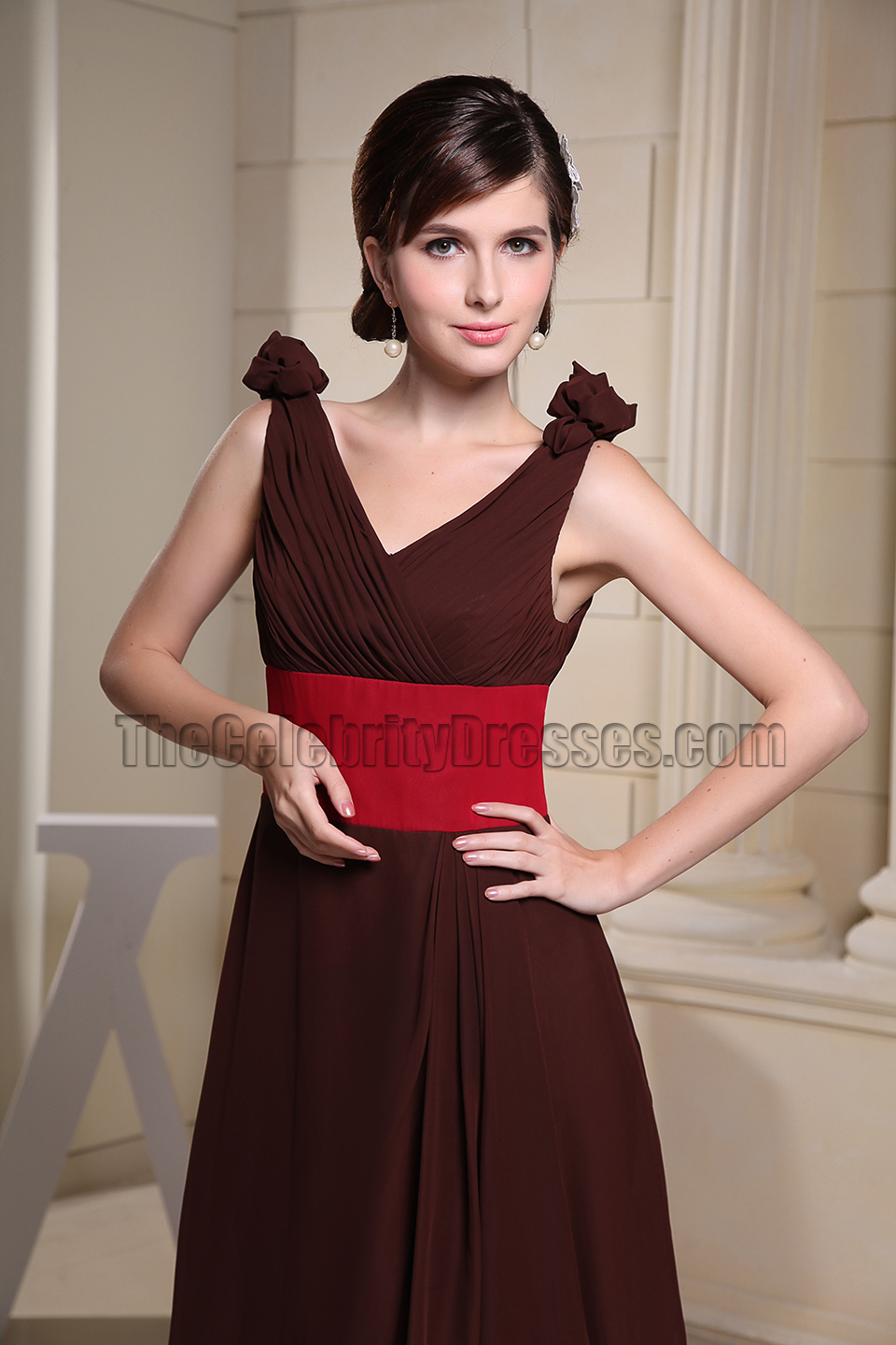 Brown And Red Chiffon Prom Gown Evening Dresses - TheCelebrityDresses
