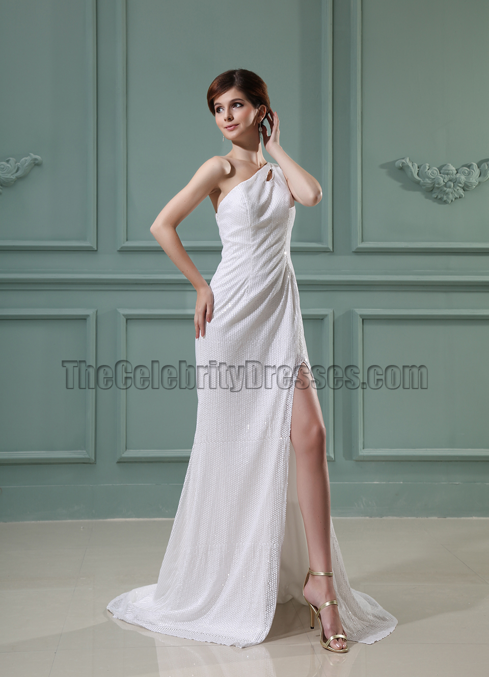 White Sequined Cut Out Backless Prom Gown Evening Dresses ...