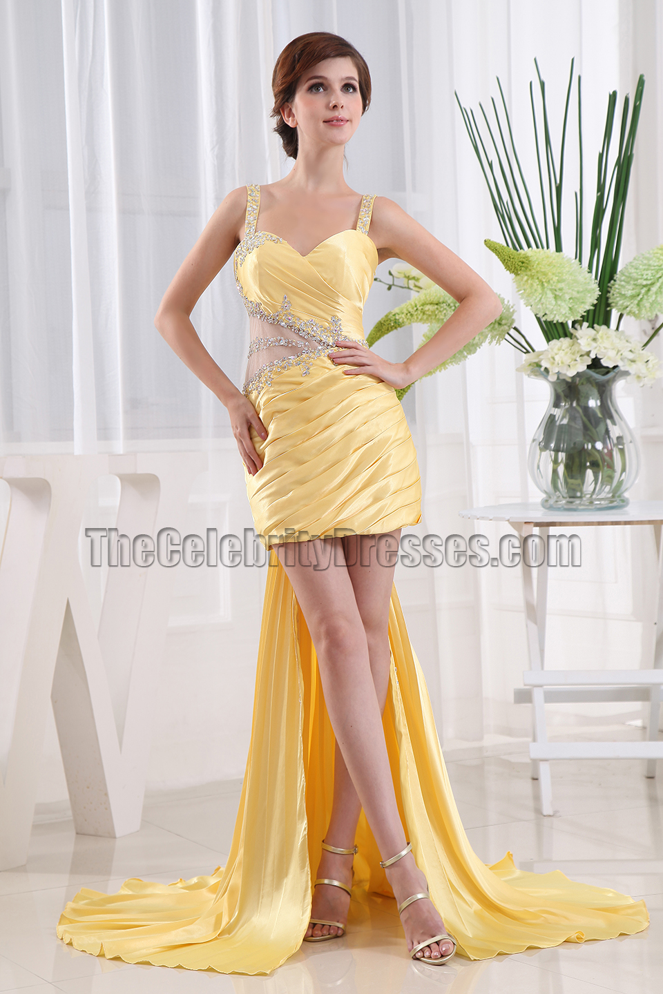 Chic Yellow Beaded Cocktail Party Dresses Prom Gown ...