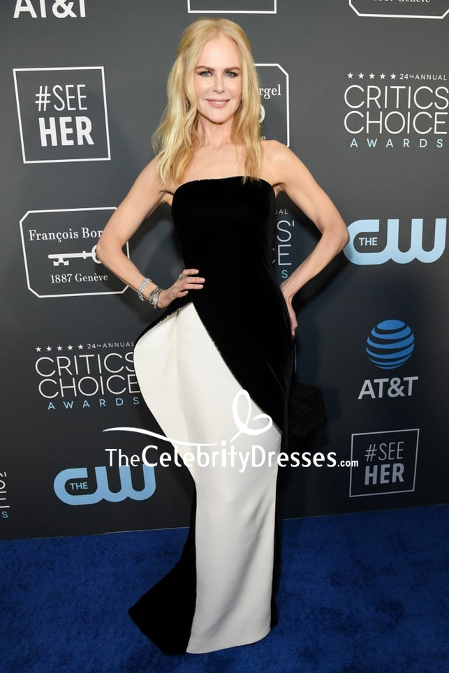 Nicole Kidman Strapless White And Black Evening