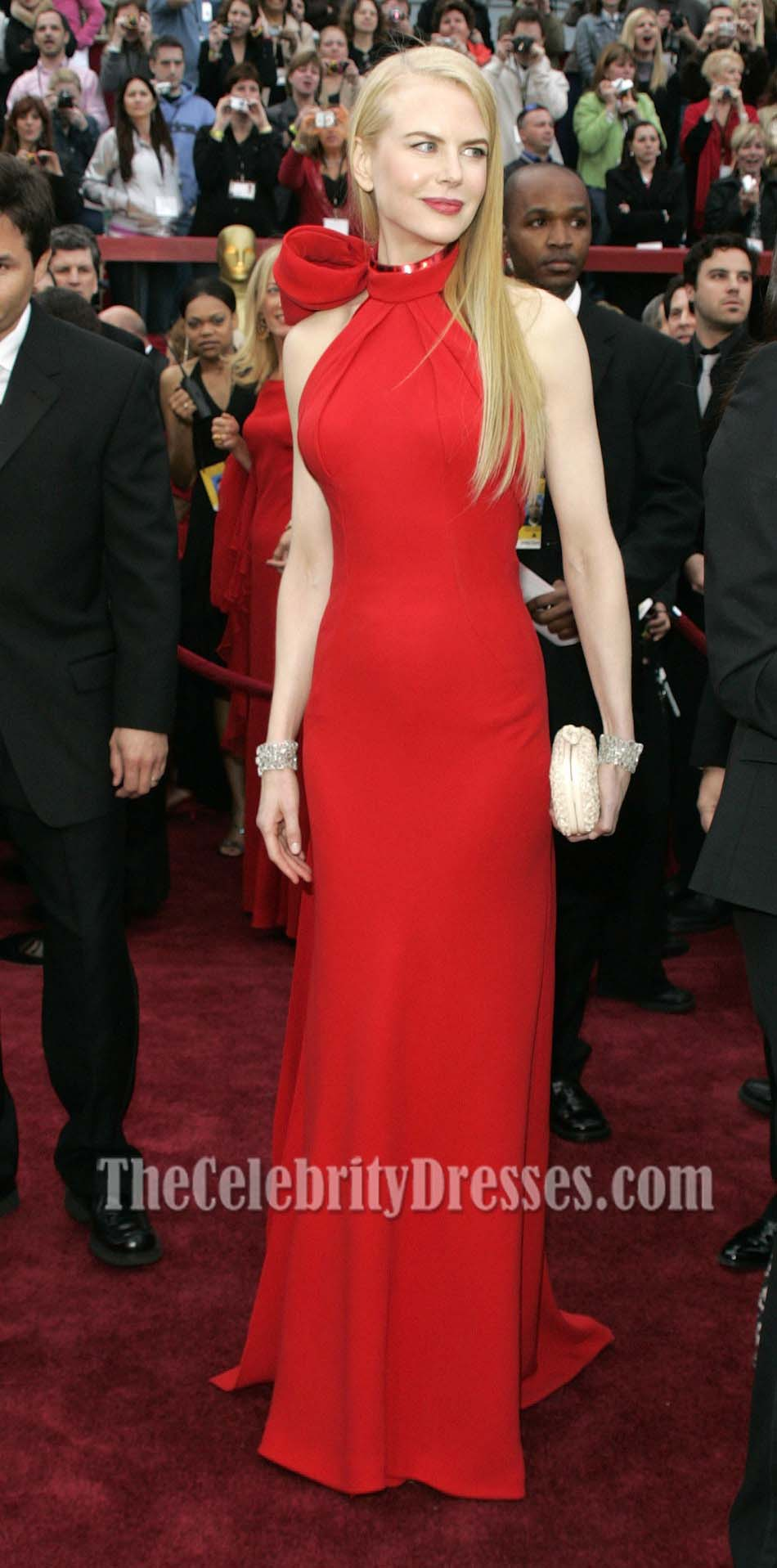 Nicole Kidman Red Halter Formal Dress Oscar Awards 2007 Carpet Thecelebritydresses