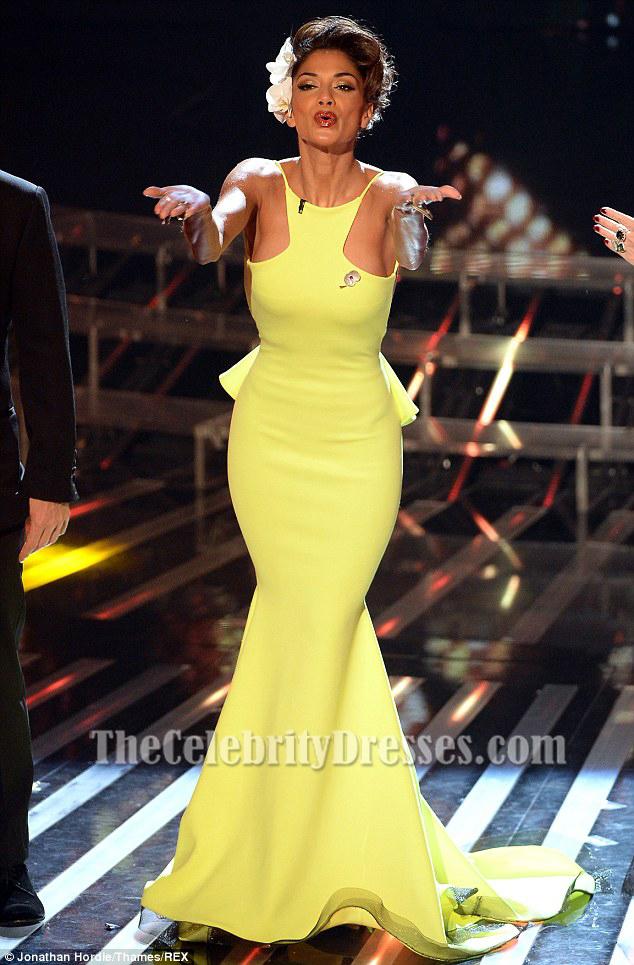 Nicole Scherzinger Yellow Backless Mermaid Prom Gown