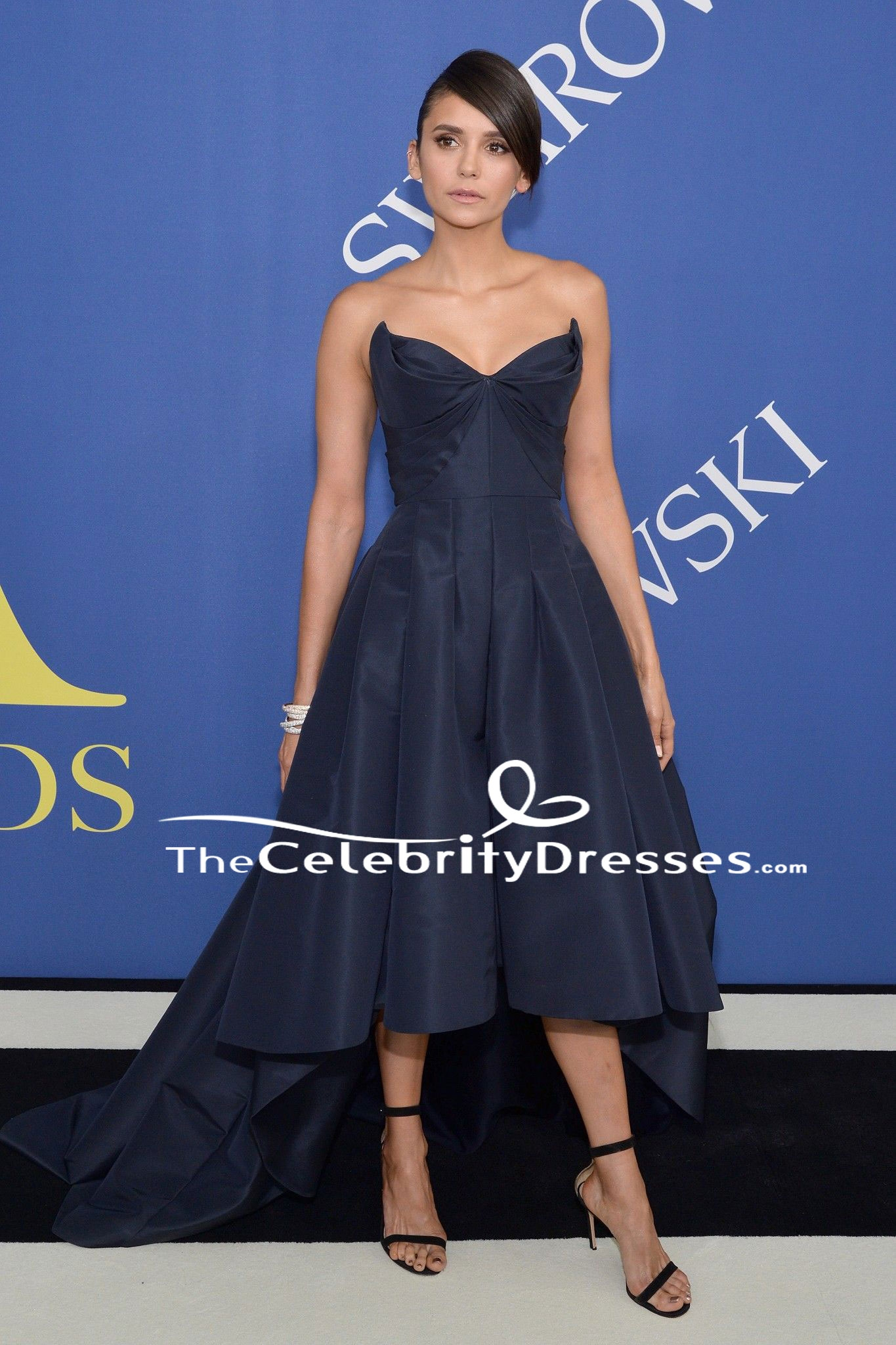 Nina Dobrev Dark Navy High Low Formal Dress 2018 Cfda