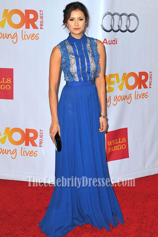 Nina Dobrev Blue Prom Dress 2013 Trevor Project Benefit ...