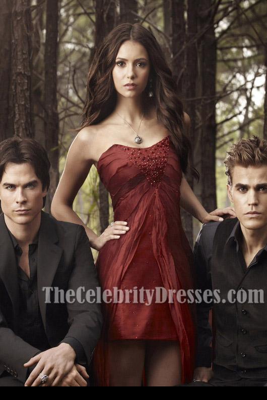 Nina Dobrev Red Strapless High Low Prom Evening Dress