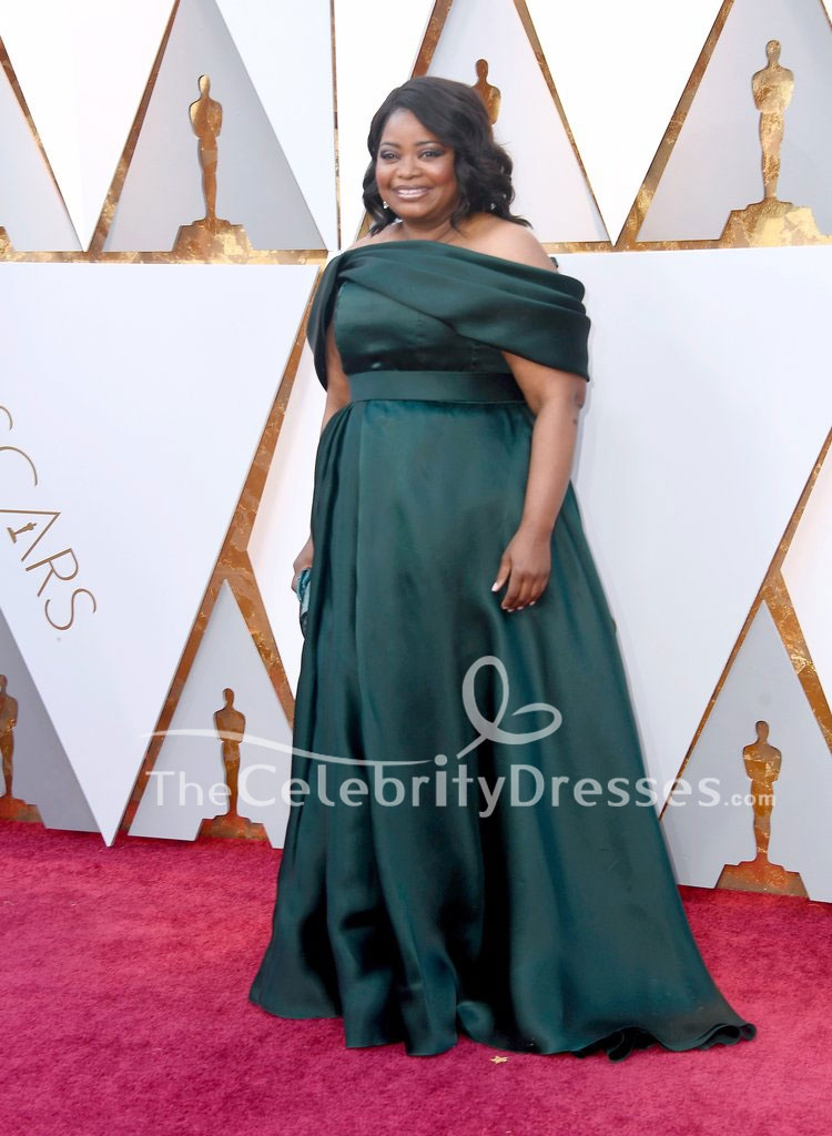 Octavia Spencer Dark Green Formal Dress 2018 Oscars Red Carpet Plus Size  Gown TCD7760