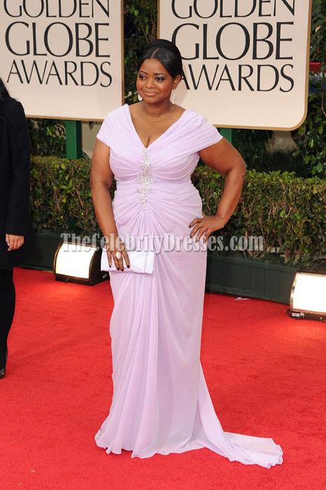 Octavia Spencer Lavender Cap Sleeve Plus Size Prom Dress 2012 Golden