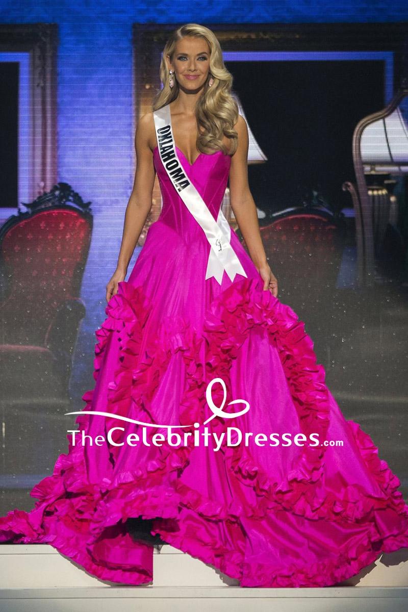Olivia Jordan Fuchsia Strapless Ruffled Ball Gown Miss USA 2015 ...