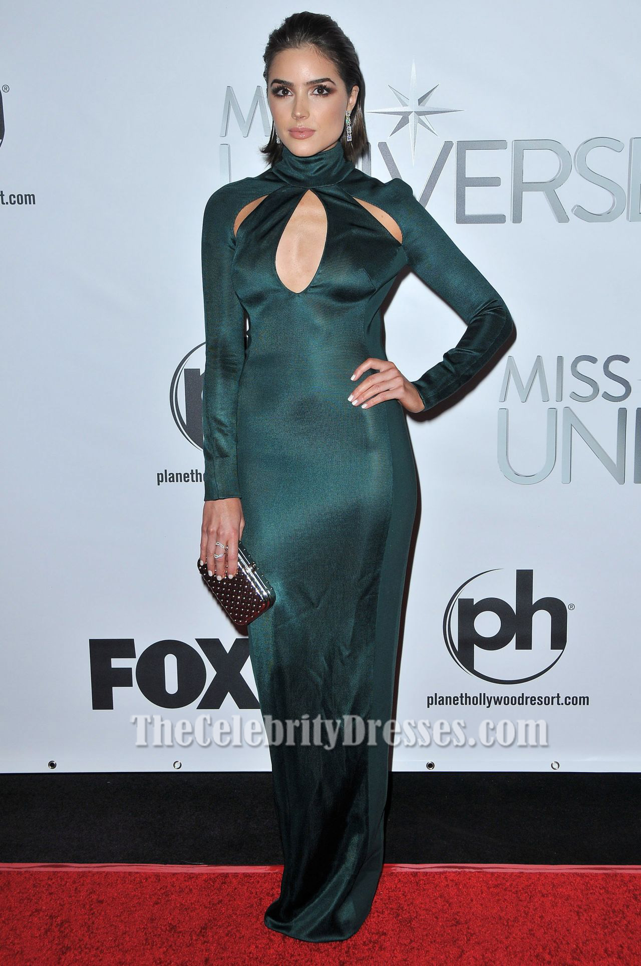 Olivia Culpo Long Sleeve Evening Dress 2015 Miss Universe Pageant ...