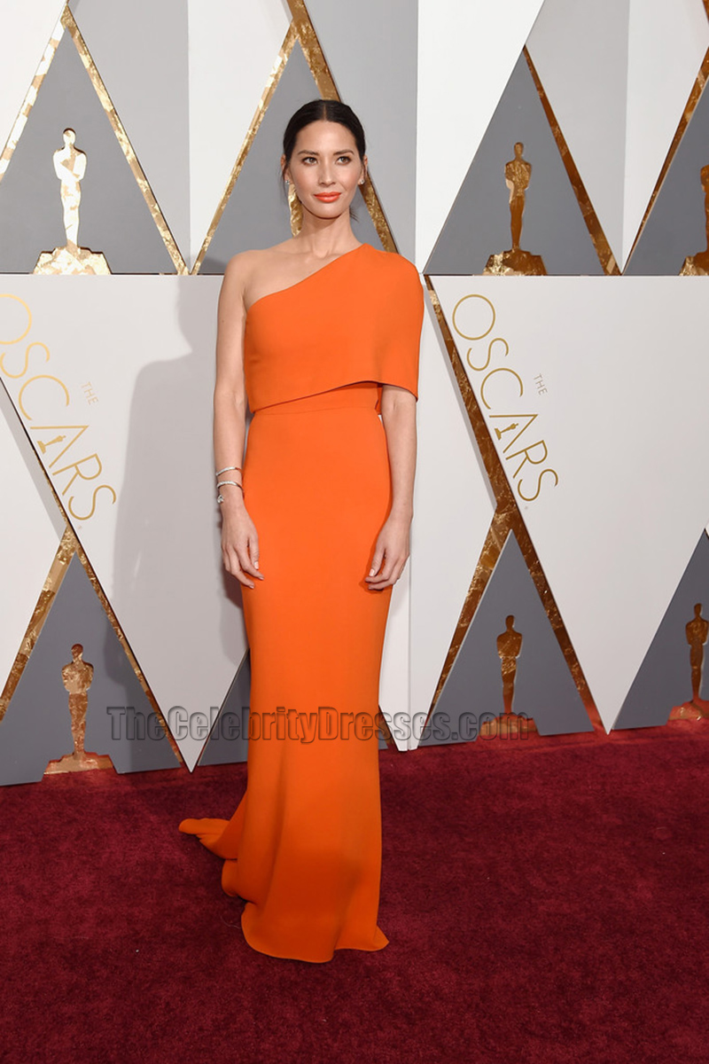 Olivia Munn 2016 Oscar Academy Awards Orange One Shoulder