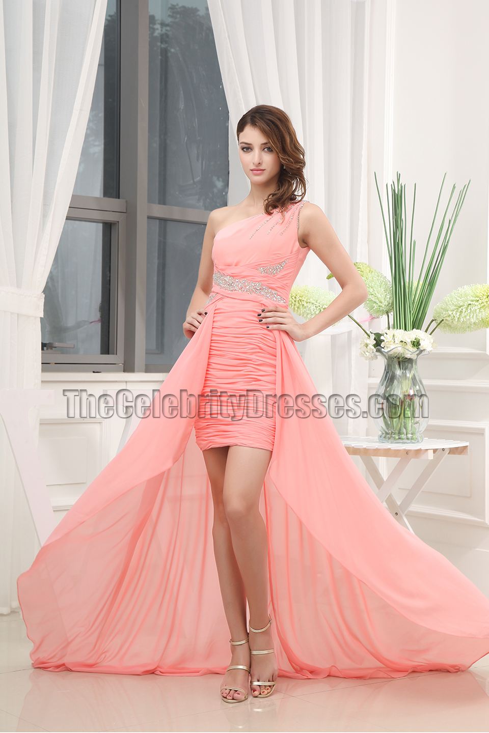 One Shoulder Chiffon High Low Prom Evening Dresses Thecelebritydresses