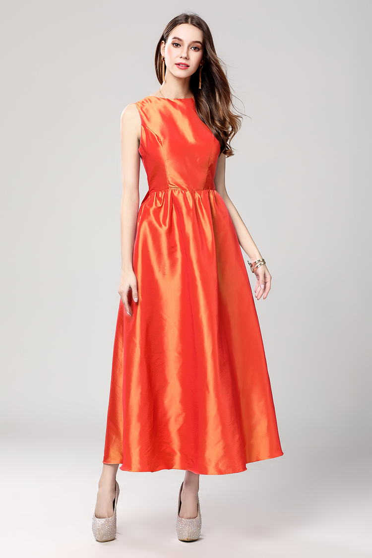 Orange Sleeveless Prom Gown Party Dresses