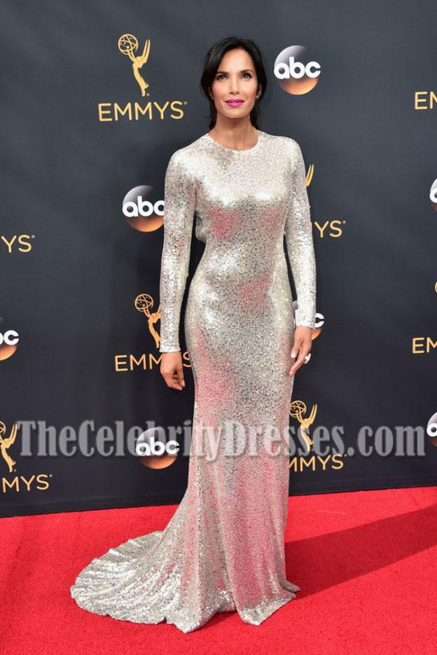 Padma Lakshmi Silver Sequins Long Sleeves Evening Dress