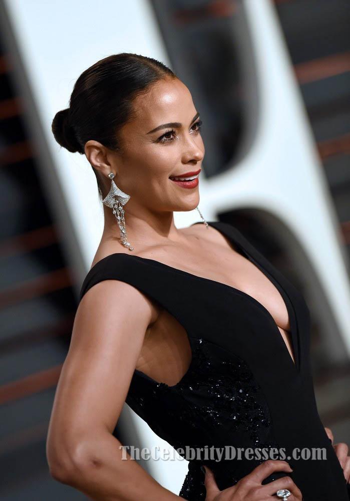 Paula Patton Black Evening Dress Vanity Fair Oscar Party 2015 Thecelebritydresses
