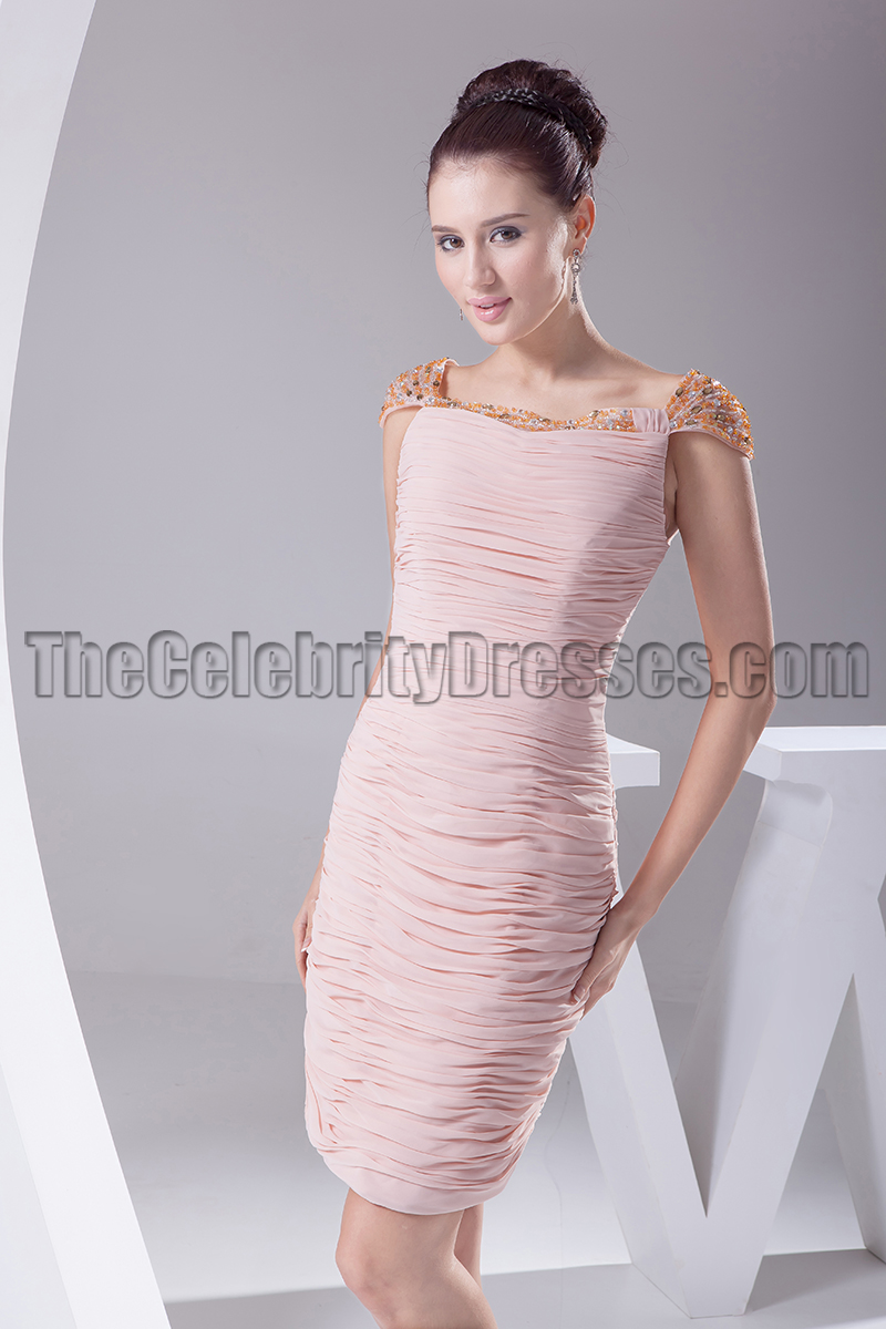 Pearl Pink Cap Sleeve Cocktail Party Bridesmaid Dresses ...