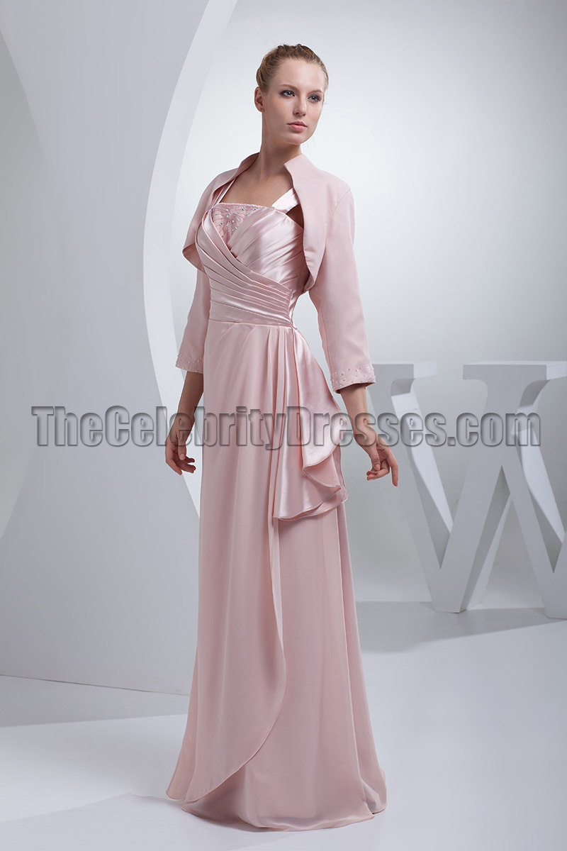 Pearl Pink Floor Length Mother Of The Bride Dress With A