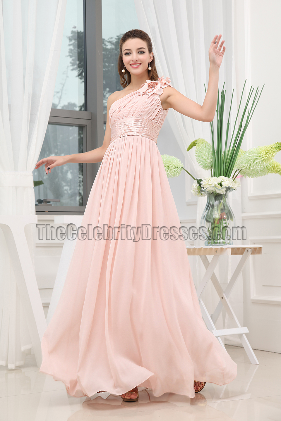 Discount Pearl Pink One Shoulder Bridesmaid Dress Prom Gown ...