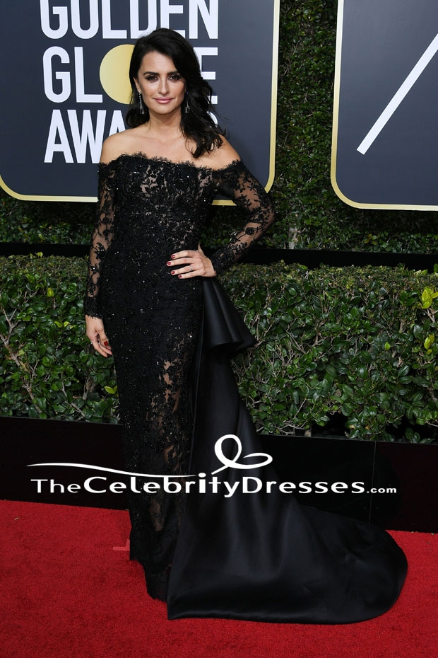 56081a91e79 Penelope Curz Black Evening Dress 2018 Golden Globe Awards Red Carpet Gown  TCD7661 - TheCelebrityDresses