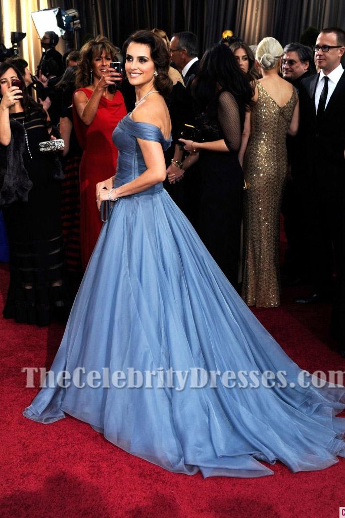 Penelope Cruz Blue Off The Shoulder Formal Dress 2012 Oscar Awards Red Carpet Gown