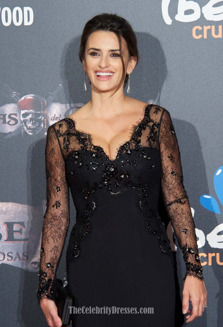Celebrity Dresses Penelope Cruz Black Lace V-Neck Prom Dress Formal ...