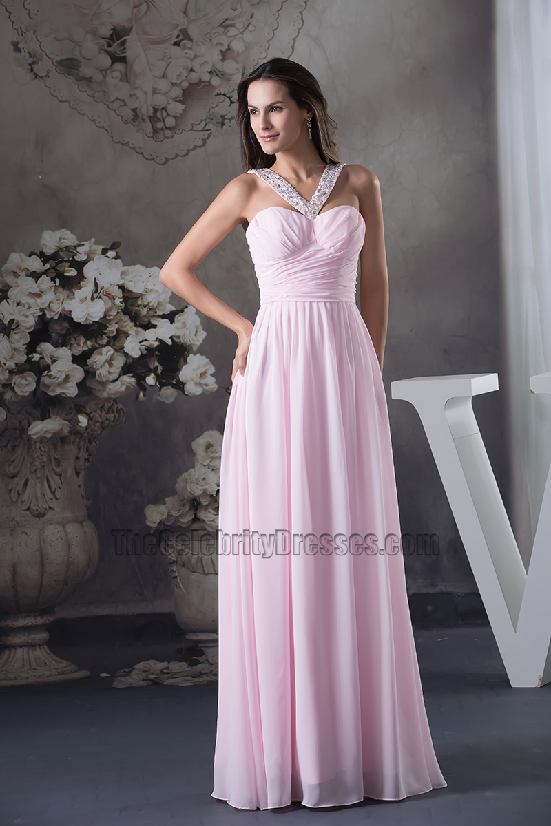 Pink Chiffon A Line Full Length Bridesmaid Dress Prom Gown