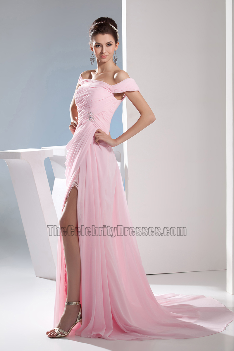 Pink Chiffon Off-the-Shoulder Prom Dress Evening Gown ...