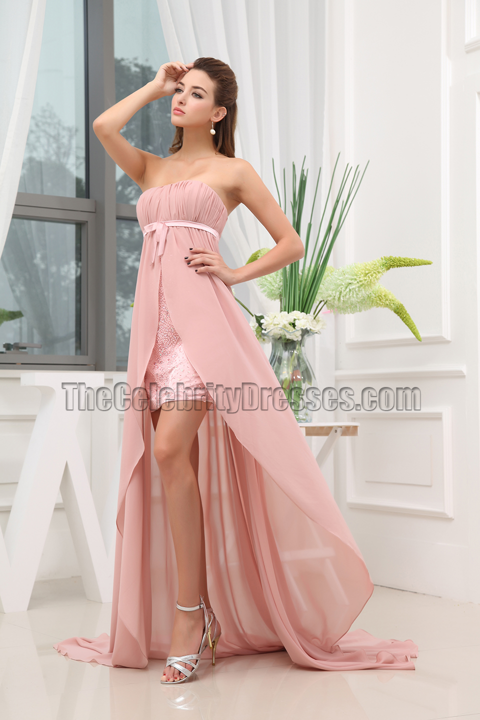 best daytime wedding guest dresses summer dresses for wedding High Low Pink Chiffon Strapless Prom Dress Evening Gowns Thecelebritydresses
