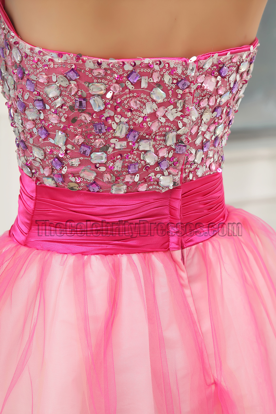 Short Pink A-Line Tulle Homecoming Sweet 16 Dresses ...