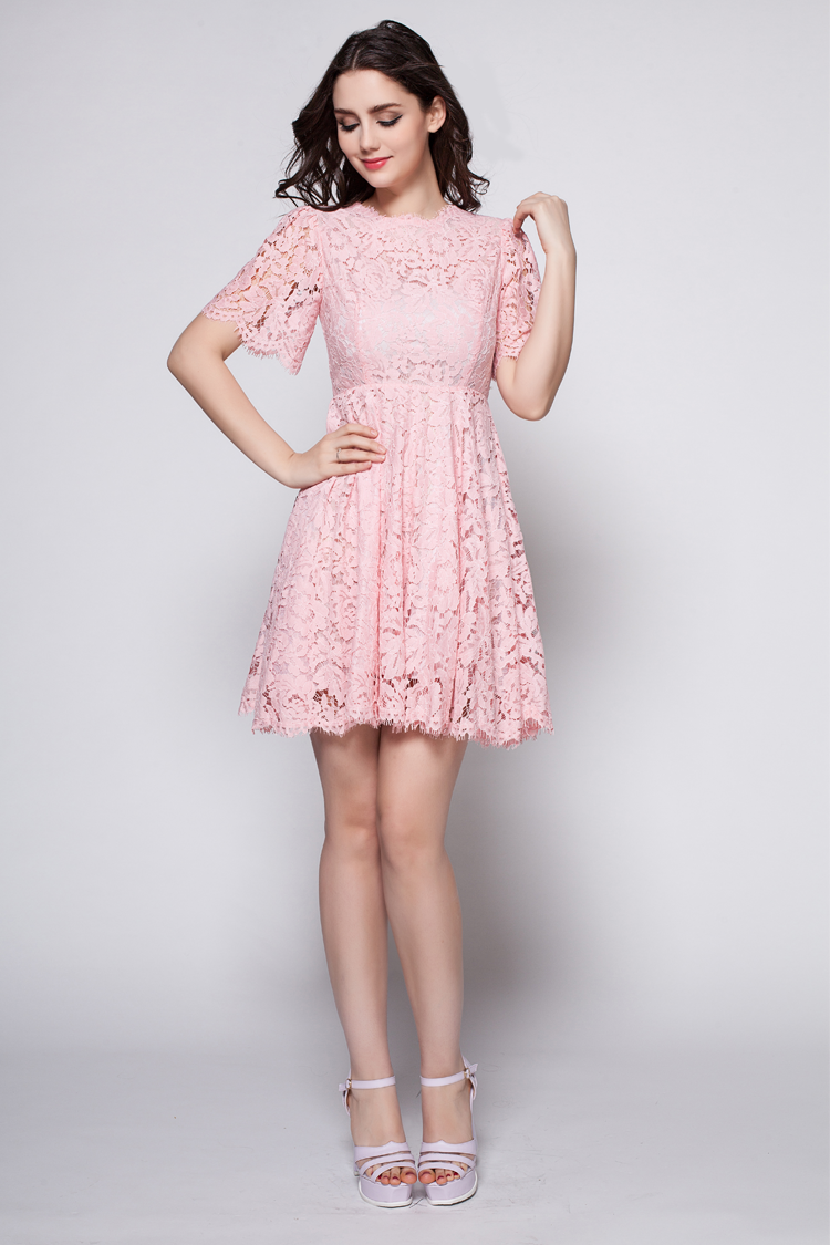 0e65a47716 Pink Short A-Link Lace Cocktail Party Dresses - TheCelebrityDresses
