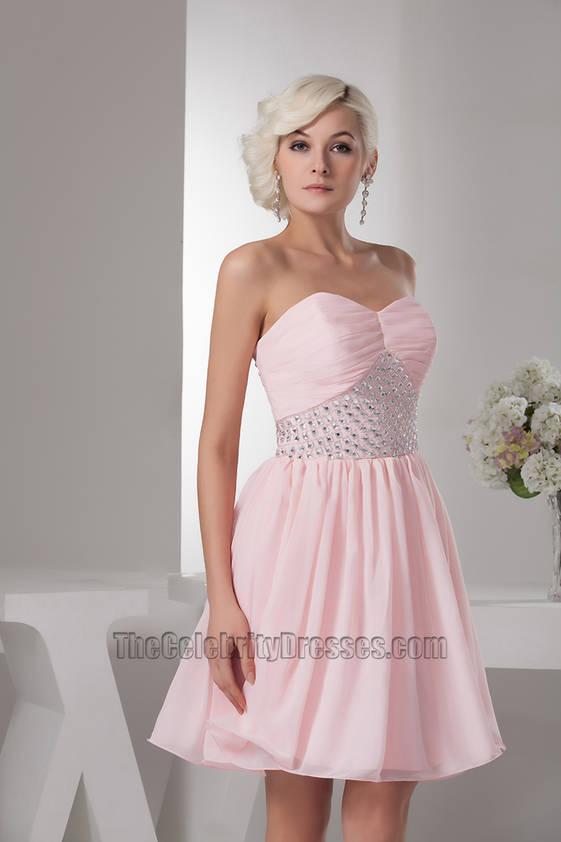 Pink Strapless Beaded Homecoming Graduation Party Dresses ...