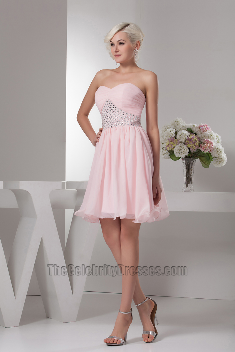 23421301419 Pink Strapless Beaded Homecoming Graduation Party Dresses -  TheCelebrityDresses