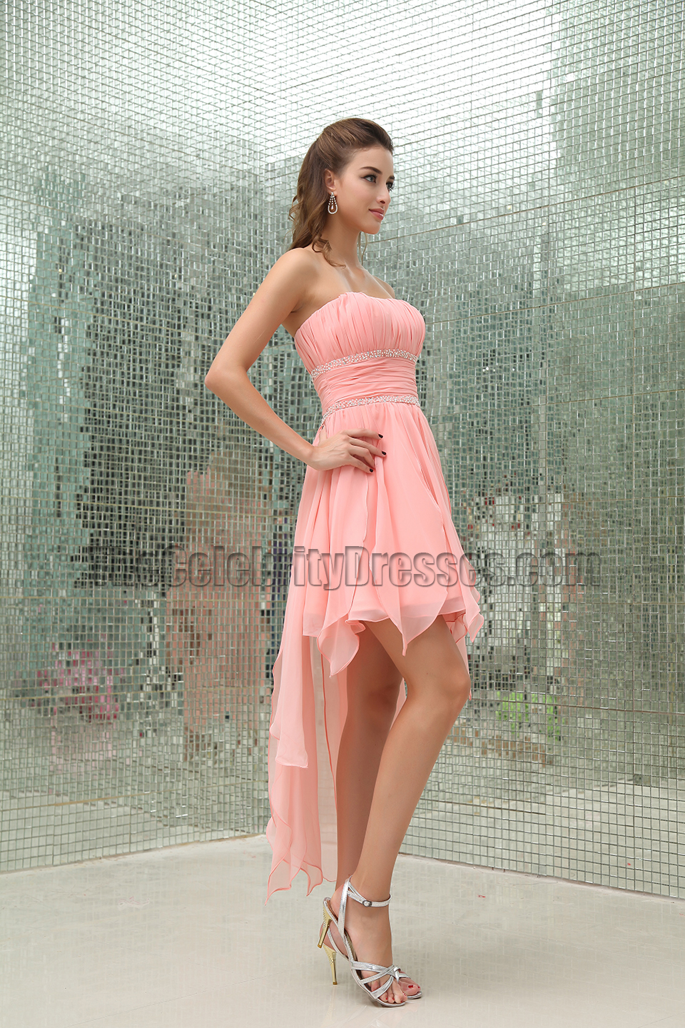 Celebrity Inspired Pink Strapless High Low Cocktail Party Dresses ...