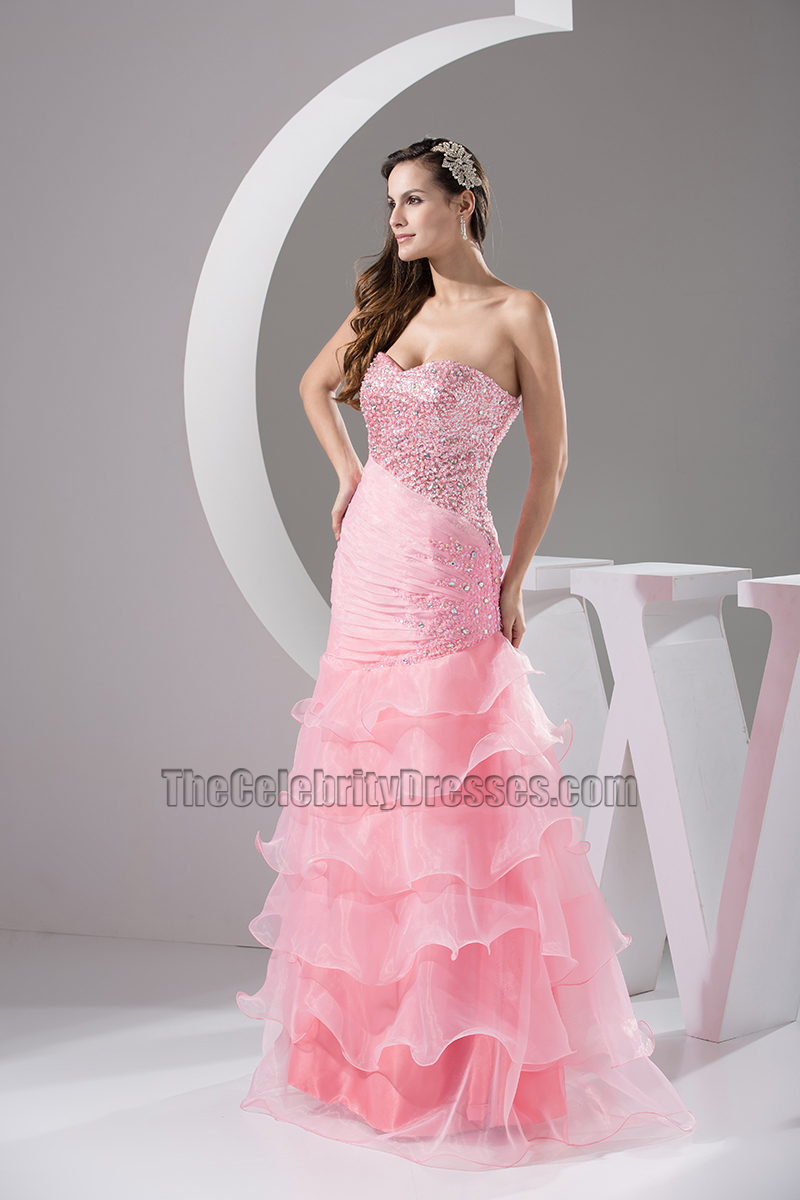 Pink Strapless Organza Formal Dress Prom Evening Dresses ...